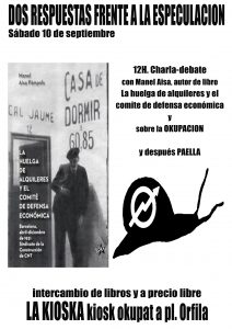 Republica, Vaga lloguers, Sindicat construcció CNT, Barcelona